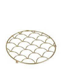 Topf-Untersetzer aus zartem, geometrisch geformten Eisendraht, gold