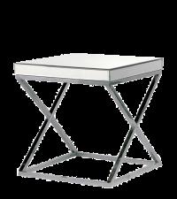 moderner verspiegelter Nachttisch oder Beistelltisch mit gekreuzten Chromfüßen