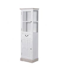 weiße Vitrine Shabby-Style im Landhausstil mit einer Lade