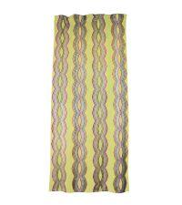 schimmernder Vorhang in saftigem grün mit geometrischer Stickerei
