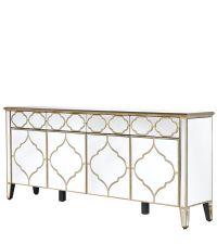 großes verspiegeltes Sideboard Art-Deco mit goldener geometrischer Verzierung