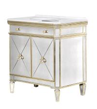 verspiegelter Waschbecken-Schrank in Antik-Optik mit goldenen Details