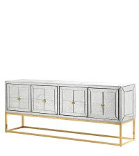 elegantes, verspiegeltes Sideboard in Antik-Optik mit zartem goldenen Metallrahmen