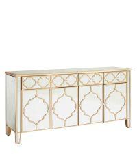 mittelgroßes verspiegeltes Sideboard Art-Deco mit 4 Türen mit goldener geometrischer Verzierung