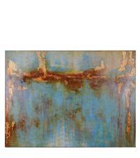 riesiges Wandmild mit abstrakter Ölmalerei mit Farbverlauf von gold bis blau