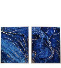 zwei Wandpaneele, Wandbilder mit Hochglanzbeschichtung in Marmor-Optik, blau