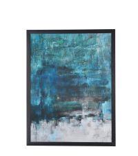 modernes abstraktes Wandbild in Blautönen mit schwarzem Rahmen