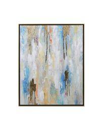 abstraktes, handgemaltes Bild in Blautönen & gold