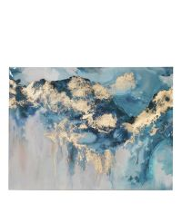 Leinwanddruck mit blauem Farbverlauf und gold reflektierender Beschichtung