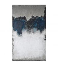 riesiges abstraktes Leinwandbild in Blau- und Grautönen