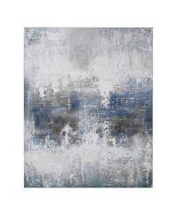 großes, abstraktes Ölbild, Wandbild in Blau- und Grautönen