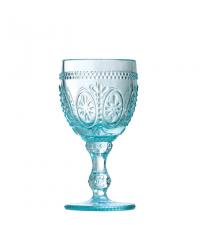 Weinglas mit Blumenverzierung hellblau