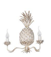 Ananas-Wandleuchte mit 2 Kerzen-Leuchten im Vintage-Stil, weiß/braun