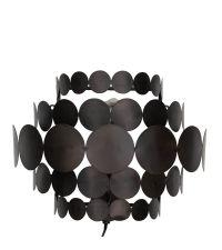 gerundete Wandleuchte mit zarten, runden Metallplättchen, schwarz