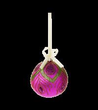 Weihnachtskugel pink mit grün/violetter Pfauenfeder von Lisbeth Dahl