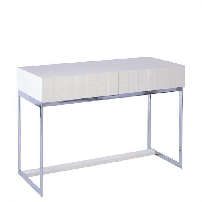 Moderne Konsole Oder Schreibtisch Basel Matt Weiss Fusse Aus Chrom