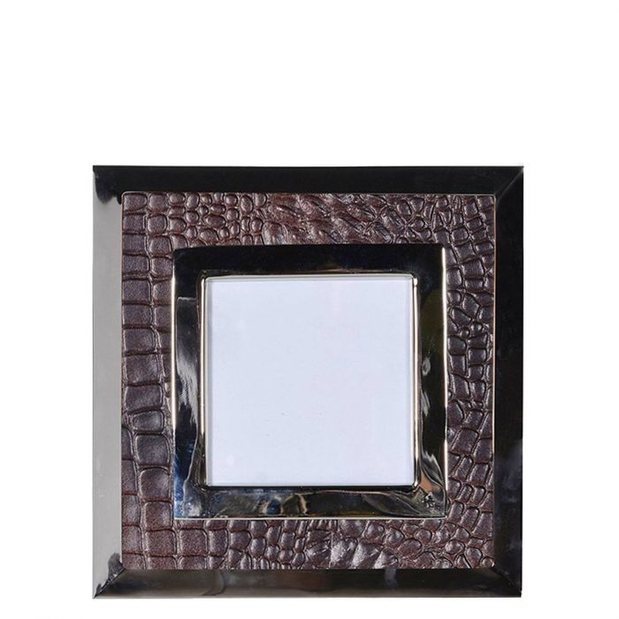 moderner quadratischer Bilderrahmen aus braunem Kunstleder in Kroko ...