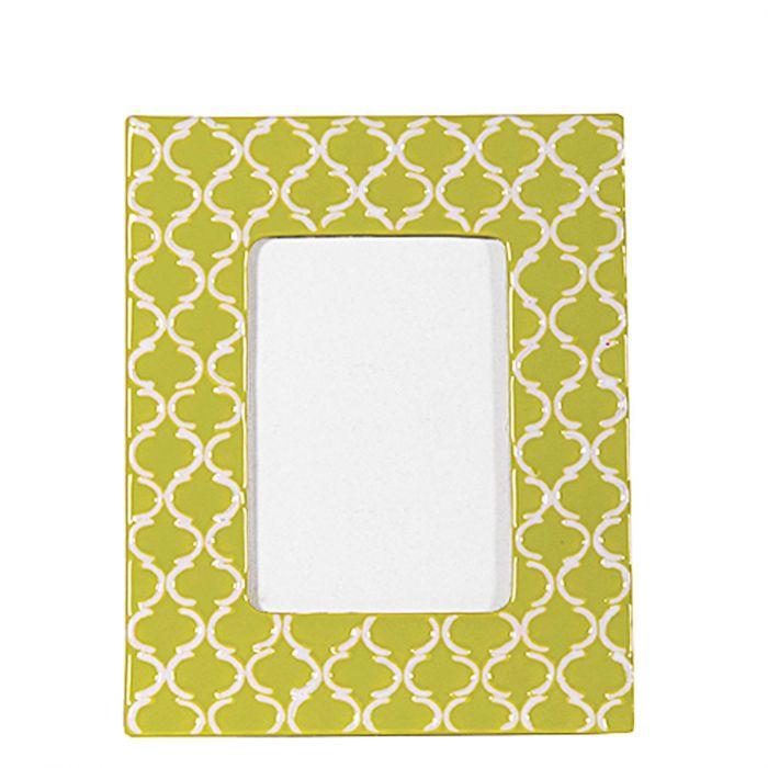 Bilderrahmen aus Keramik mit geometrischem Muster grün / weiß