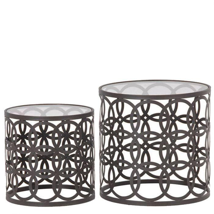 Beistelltisch metall  zwei runde Beistelltische aus Metall mit Lochmuster und Glasplatte