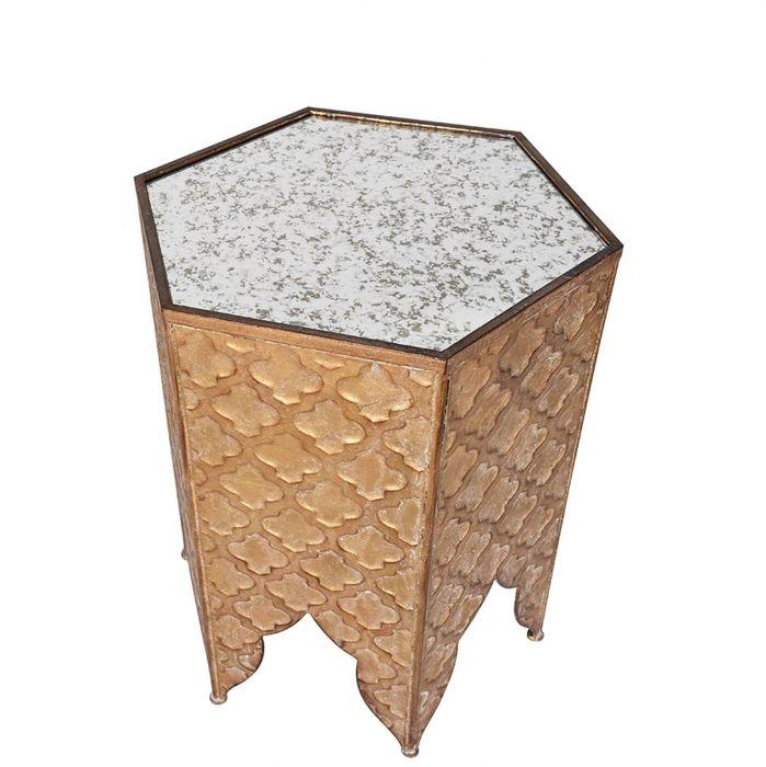 Sechseckiger Orientalischer Beistelltisch Mit Trellis Muster Gold