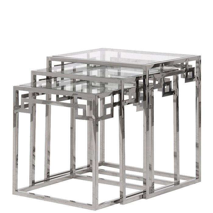 drei moderne Beistelltische aus Chrom & Glas mit geometrischem Muster