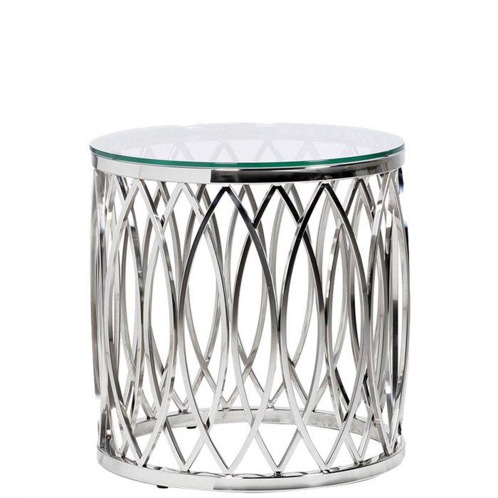 Beistelltisch metall  traumhafter runder Beistelltisch mit geschwungenen Formen aus Metall und  Glasplatte