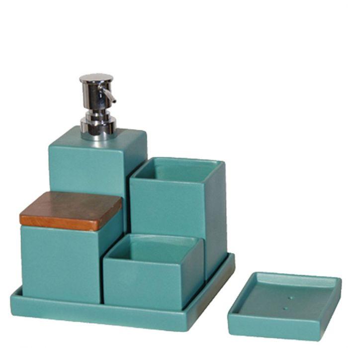 modernes Badezimmer-Set aus Keramik türkis