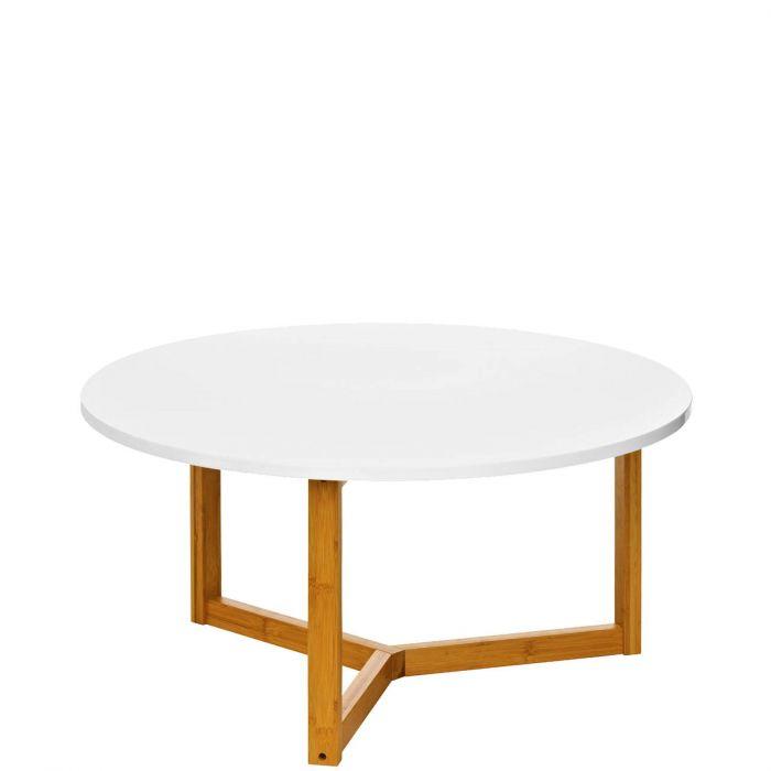 runder Couchtisch in angesagtem Retro-Design Tischplatte Hochglanz weiß