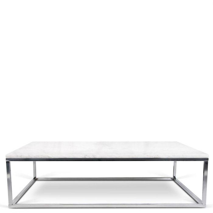 Rechteckiger Couchtisch Tischplatte Aus Weissem Marmor Fusse Aus Chrom