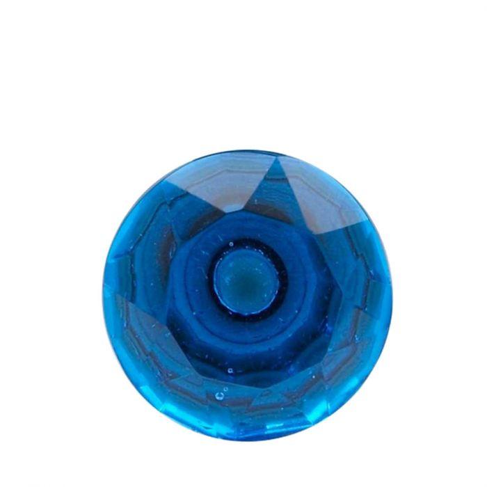 großer Möbelknopf aus Glas in Diamantform blau