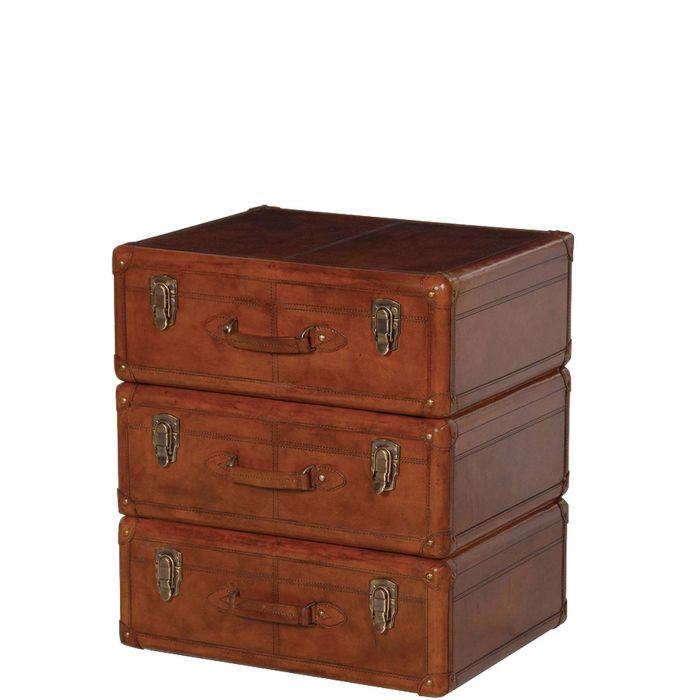 Kleine Kofferkommode Vintage Nachtkastchen Aus Leder Braun Mit