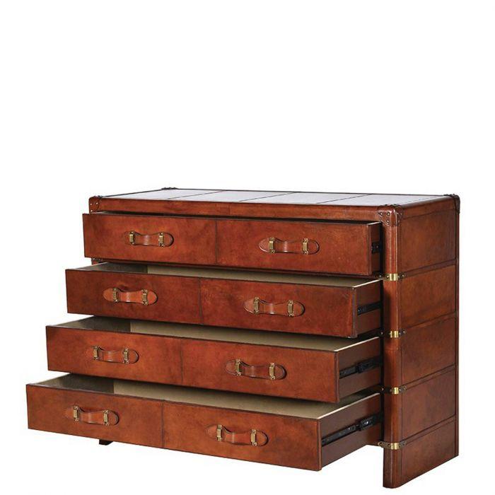 edle Vintage Kommode im Koffer-Style mit braunem Lederbezug & acht Laden