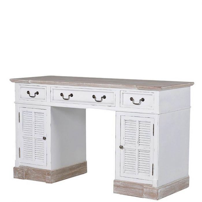 Schreibtisch Shabby-Style im Landhausstil mit 3 Laden und 2 Türen weiß