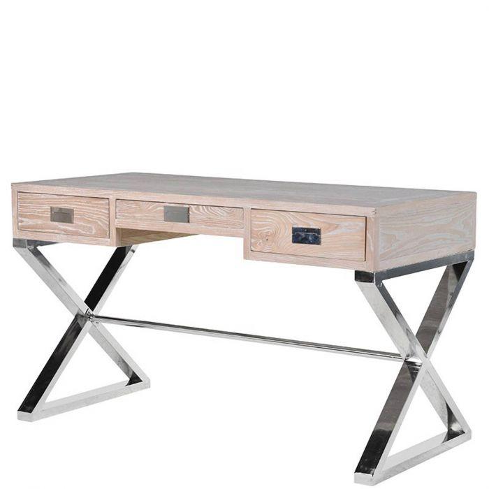 Moderner Schreibtisch Mit Drei Laden Aus Vollholz Mit Gekreuzten