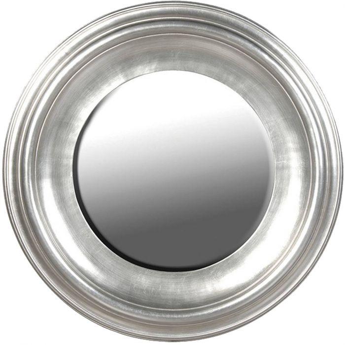 eleganter runder Spiegel mit massivem Rahmen silber RWS003
