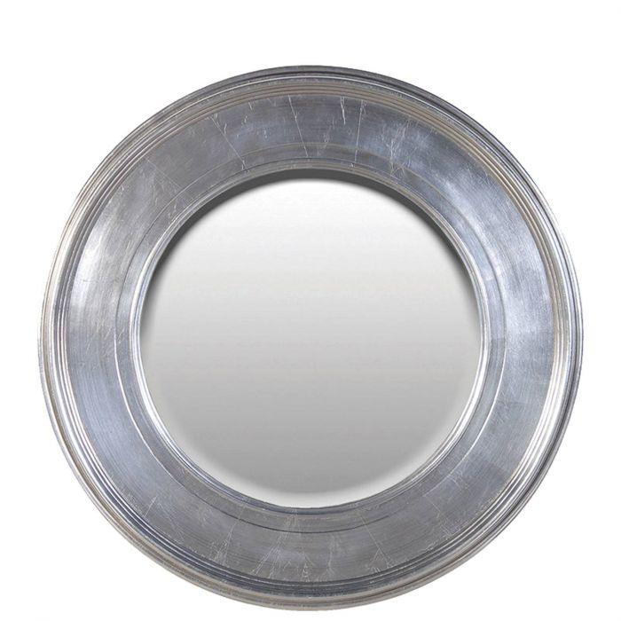 runder Spiegel mit silbernem Rahmen