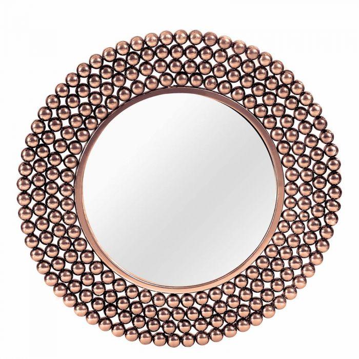 runder Wandspiegel mit breitem Rahmen aus Metallkugeln kupferfarben