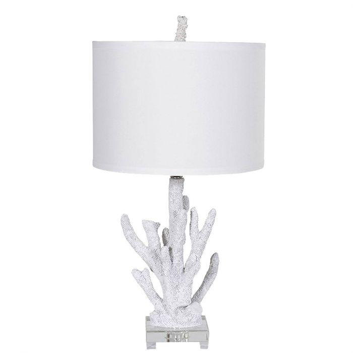 trendige Tischlampe Koralle, Lampenfuß & Lampenschirm weiß, Lampe ...