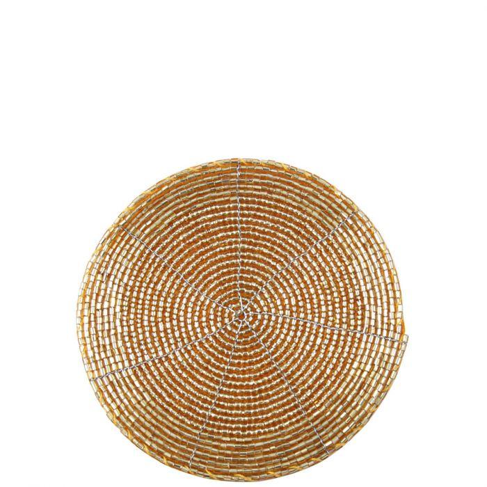runder Untersetzer mit schimmernden Perlen gold