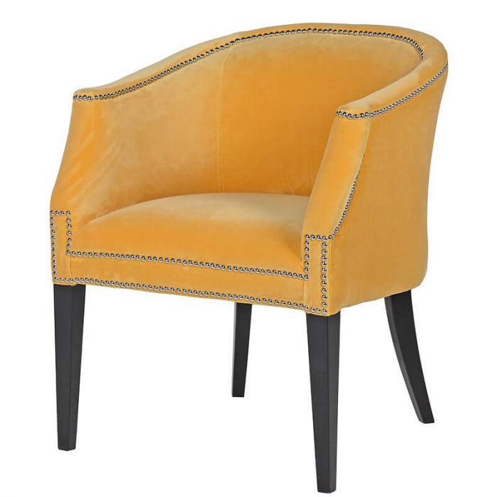 Senfgelber Armlehnsessel Mit Chromnieten Und Schwarzen Holzfüßen, Samt  Sessel Gelb, Esszimmerstuhl