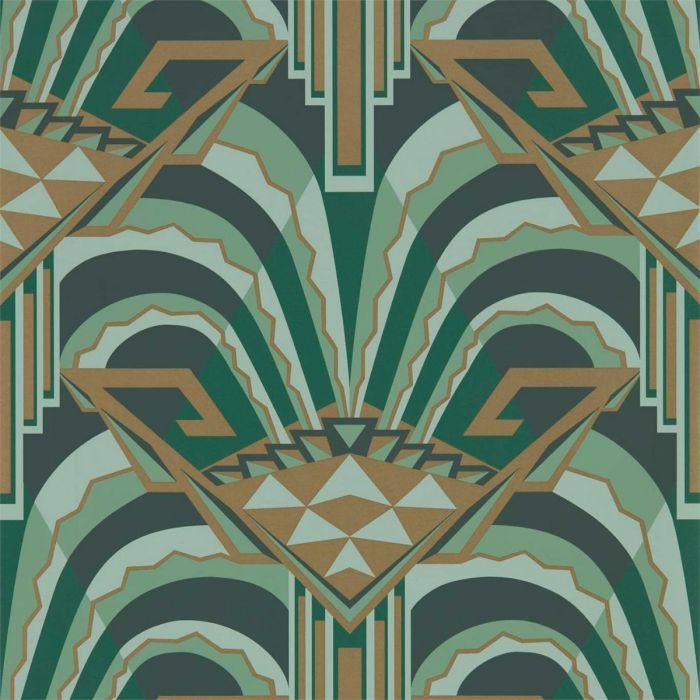 Tapete im Art Déco Stil mit großer Musterung in dunkelgrün & gold