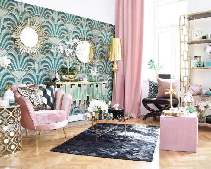Tapete Im Art Deco Stil Mit Großer Musterung In Dunkelgrün Gold