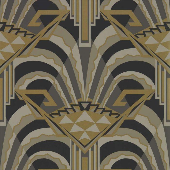 Tapete Im Art Deco Stil Mit Großer Musterung In Schwarz Grau Gold