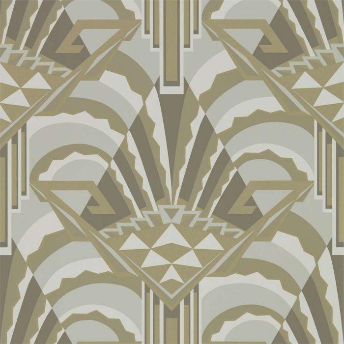 Elegante Tapete Im Art Déco Stil Mit Großer Geometrischer Musterung