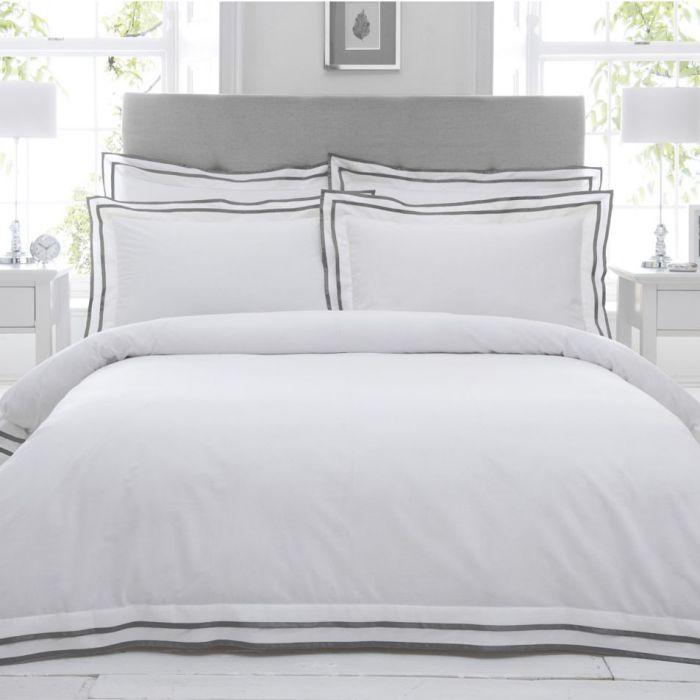 Feine Baumwoll Bettwäsche Mit Stehsaum Weiß Dunkelgrau