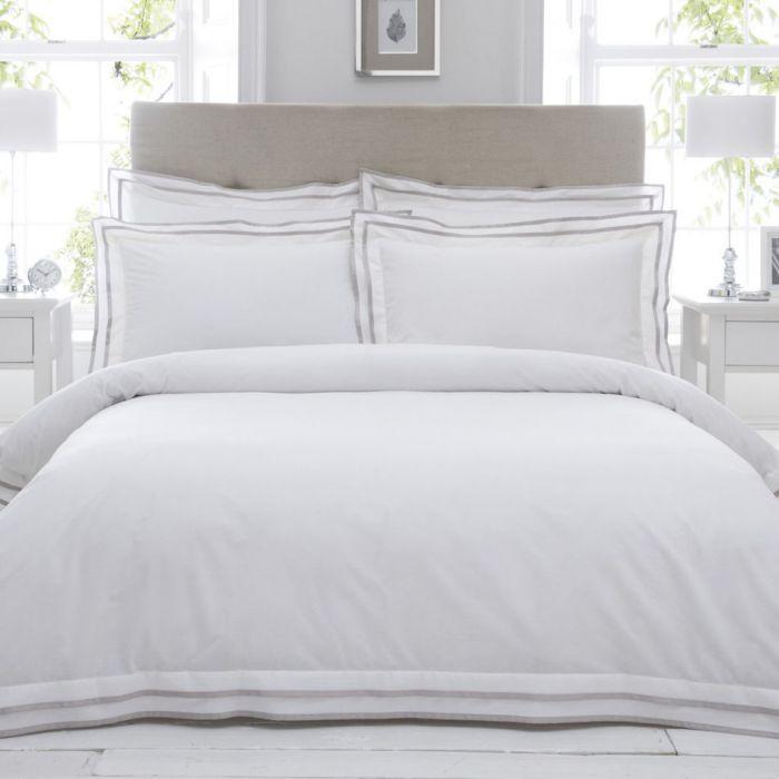 Feine Baumwoll Bettwäsche Mit Stehsaum Weiß Taupe