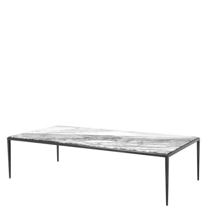 Langlicher Couchtisch Mit Marmor Tischplatte Und Schwarzen