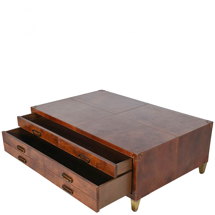 Koffer Couchtisch Mit Lederbezug Couchtisch Im Vintage Look Mit 6 Laden