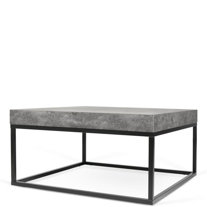 Beton wohnzimmertisch  quadratischer Couchtisch Tischplatte in Beton-Optik Füße aus Metall ...