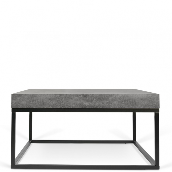 Quadratischer Couchtisch Tischplatte In Beton Optik Fusse Aus Metall